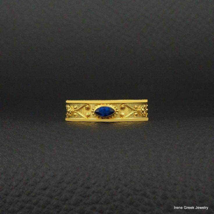 SAPPHIRE CZ BYZANTINE STYLE 925 STERLING SILVER 22K GOLD PLATED GREEK ART RING #IreneGreekJewelry #Band