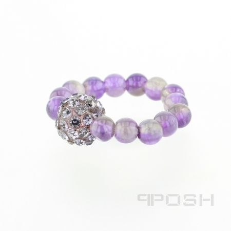 Violet - Ring.  - Genuine amethyst ring - Made with high strength cord to resist breakage - Embellished with blue toned stones for sparkle - Stretch ring to fit any finger.  POSH Vibe Collection - Everyone, Everywhere, Every Occasion.  #Jewellery   #rings