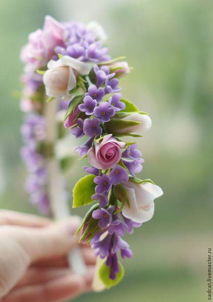 """Ободок """"розы и сирень"""" - цветы в прическу,цветы из полимерной глины,сирень"""