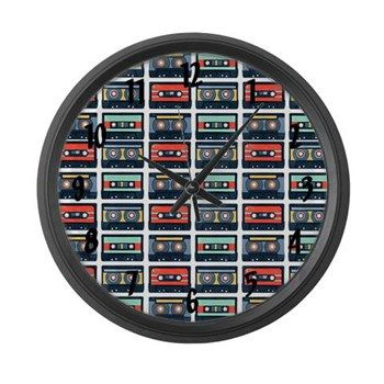 Cassestte Pattern Large Wall Clock from cafepress store: AG Painted Brush T-Shirts. #clock #cassettetape #retro