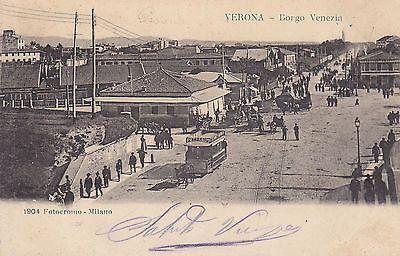 8582) Verona Borgo Venezia Folla E Tram A Cavalli.