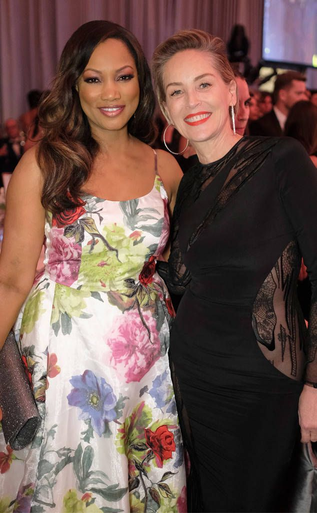 Garcelle Beauvais & Sharon Stone from Oscars 2017: Party Pics  The actresses team up at the 25th Annual Elton John AIDS Foundation's Academy Awards viewing party.