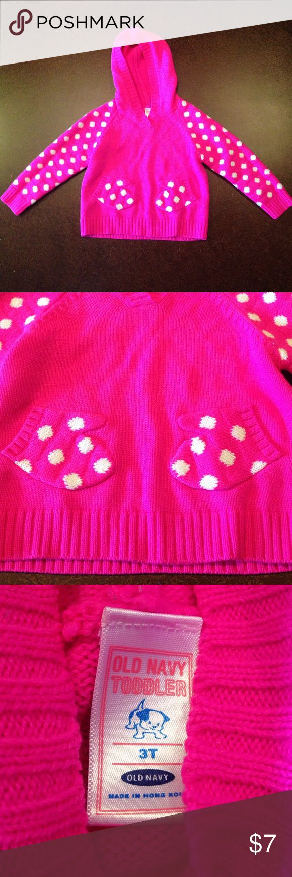 Pink Polka Dot Sweater with mitten pockets So cute! Old Navy Pink Polka Dot sweater is pink with white polka dots. Mittens in the middle are pockets. Great used condition- no flaws. Smoke Free Home. Bundle for savings! Old Navy Shirts & Tops Sweaters