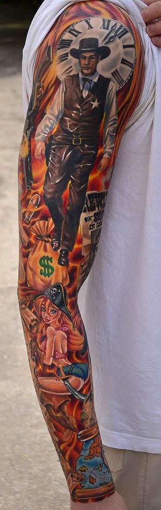 Ja Sloba - #tattoo #inked: Tattoo Sleeve Westerns, Tattoo Ideas, Sleeve Tattoo, Art Tattoo, Westerns Pirates, Old Westerns Tattoo, Sheriff Tattoo, A Tattoo, Arm Tattoo
