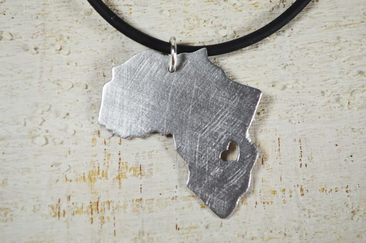 Africa Necklace Africa Jewelry Aluminium Kenya Tanzania Africa Pendant Country of Africa necklace Africa Heart Collar Caucciù silver by Violanima on Etsy