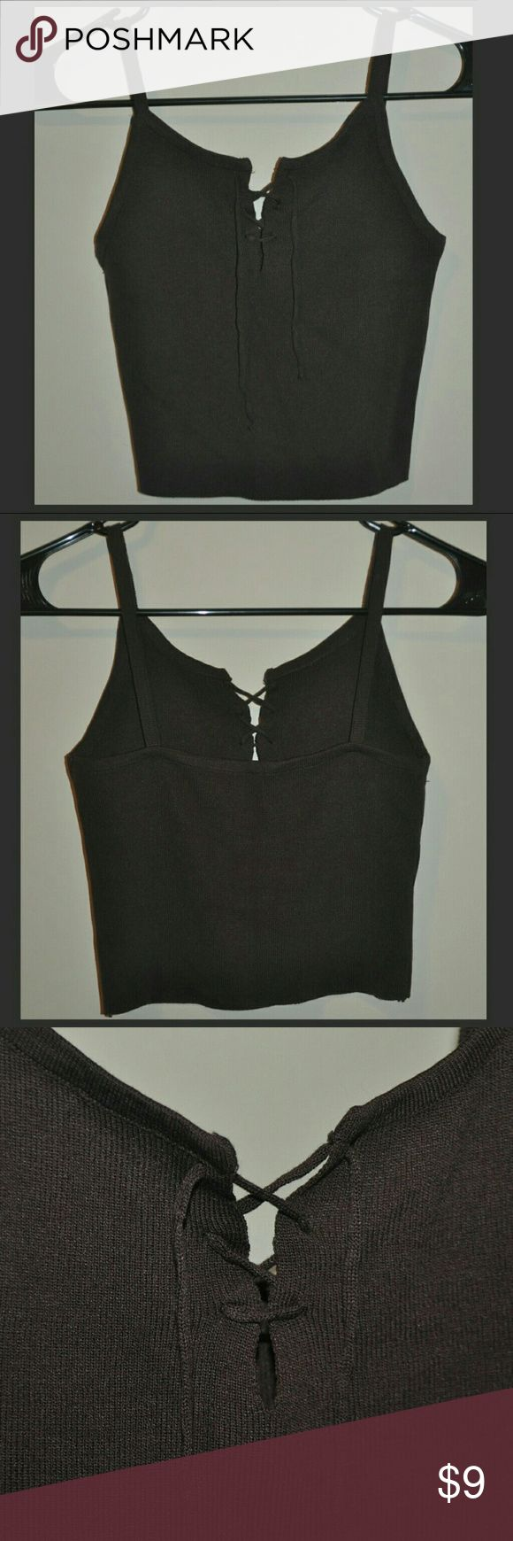 Lace Up Tie Brown Cami Top No Flaws - no size tag, fits a Small Tops