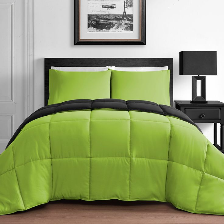 3 piece king queen home reversible microfiber comforter for Lime green bedroom furniture
