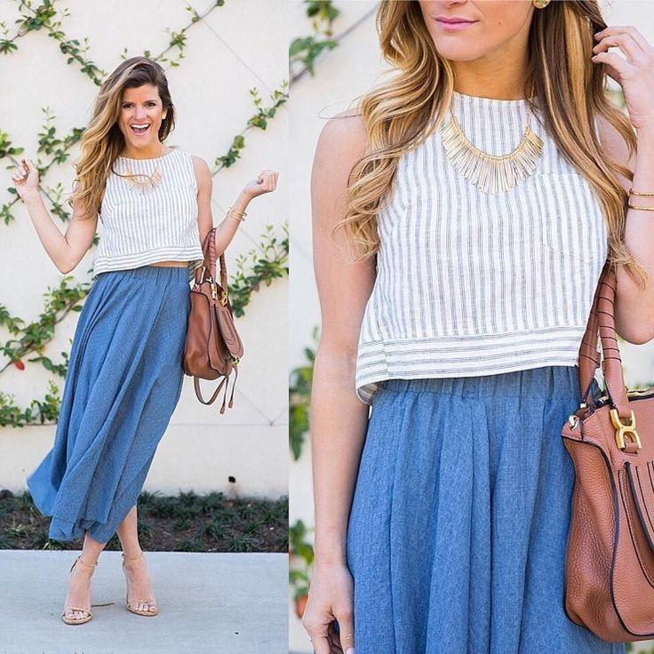flowy midi skirt + crop top + gold statement necklace