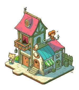 pixel art town isometric shops