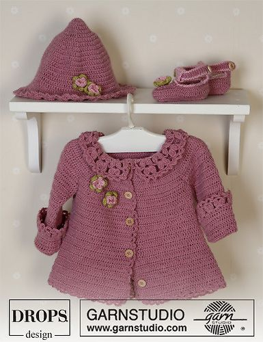 Crochet baby sweater jacket, hat, and shoes.