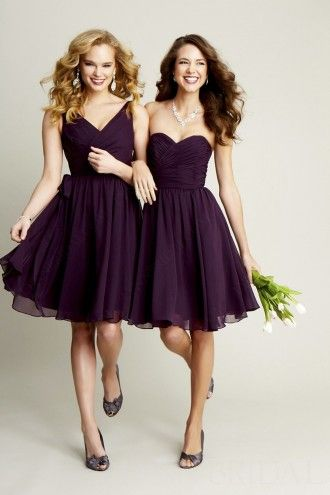 A Line Sweetheart Knee Length Chiffon Short Bridesmaid Dress