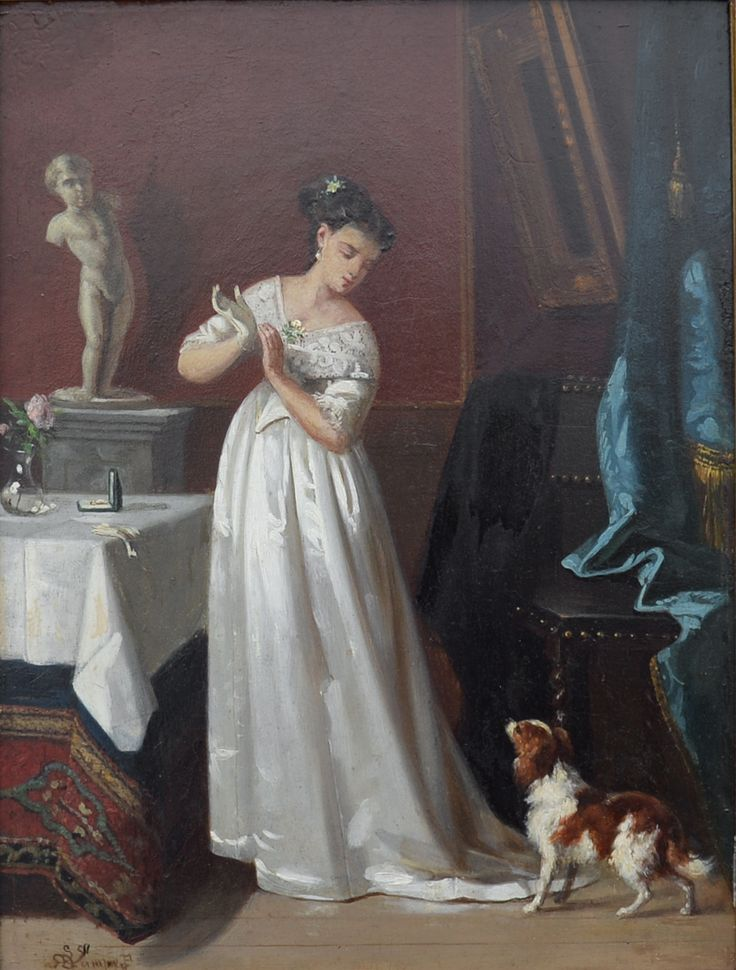 Georg Lampe (1853-1919)  Titel: Dame in witte jurk, romantisch tafereel - Artiquair