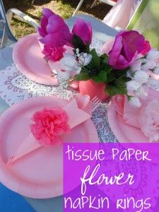 Tissue Paper Napkin Rings for a backyard Tea Party