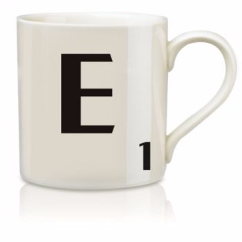 Scrabble Mug E: Scrabble mugs – collect the set for when you have 25 friends round for tea.
