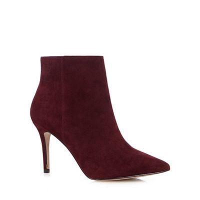 J by Jasper Conran Dark red suede high ankle boots | Debenhams