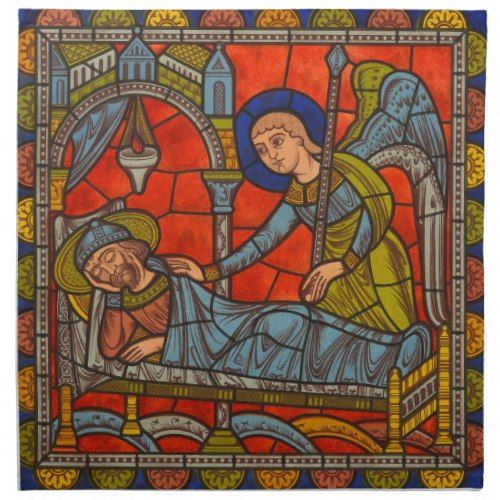 Medieval Stained Glass Chartres Christmas Angel Cloth Napkin