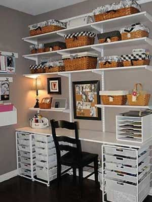 Shelving and desk, love this organization