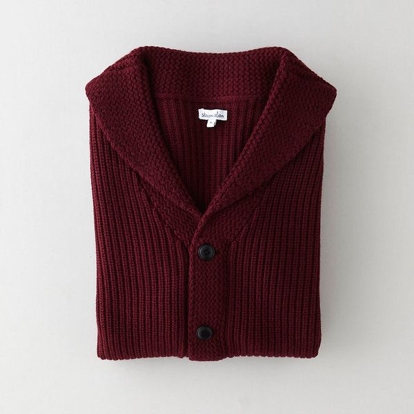 STEVEN ALAN Cleveland Cardigan (€150) ❤ liked on Polyvore featuring men's fashion, men's clothing, men's sweaters, tops, cardigans, sweaters, wine, mens cardigan sweaters, mens shawl collar sweater and mens shawl collar cardigan sweater