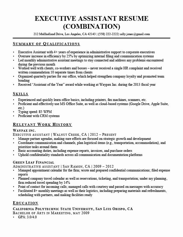 Resume Summary Examples For Administrative Assistants Elegant Executive Assistant Resume Example In 2020 Resume Summary Examples Summary Writing Job Resume Samples
