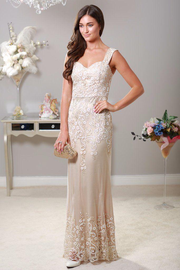 Hailey Cream and White Glitter Maxi Dress