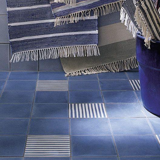 Carreau de ciment intérieur PREMIUM, bleu jean, 20 x 20 cm
