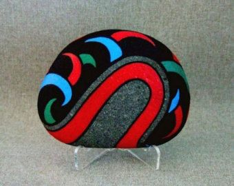 Radical Original Painted Rock Unique 3-D Art Statement Fierce