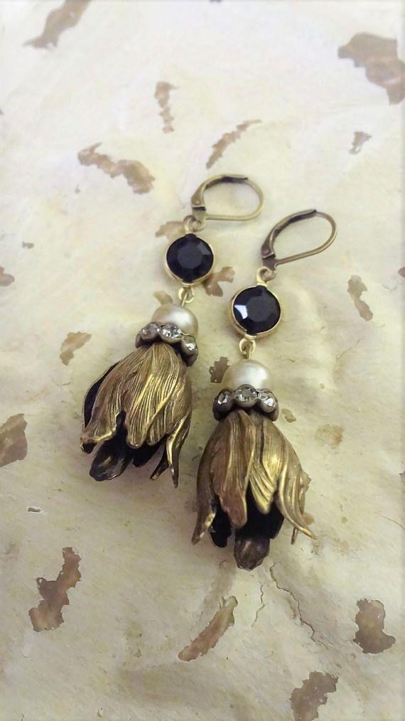 Vintage Assemblage Miriam Haskell Pearl Earrings Bohemian