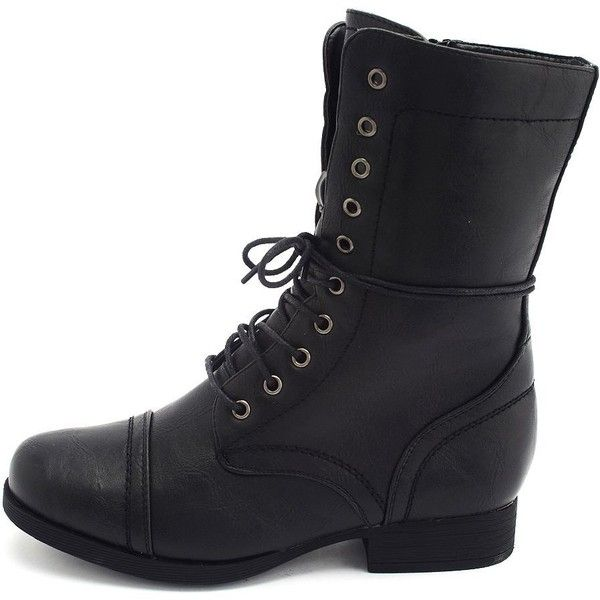 Distressed Lace-Up Combat Bootie ($40) ❤ liked on Polyvore featuring shoes, boots, combat boots, black, mid-calf boots, ankle combat boots, military boots, lace up ankle boots, black ankle boots and combat booties