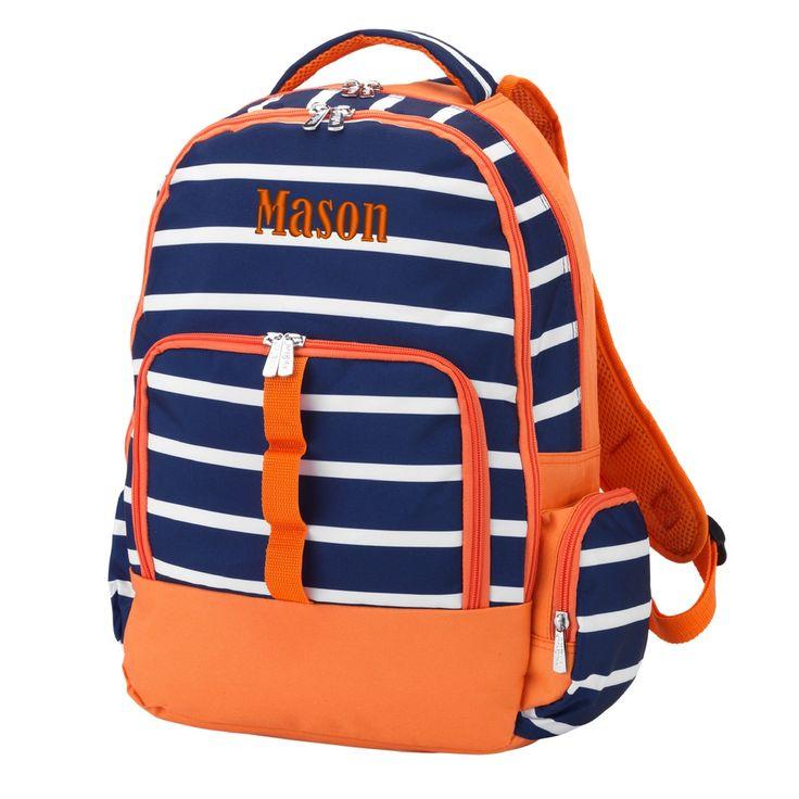 Personalized Stripe Backpack Navy Blue & Orange