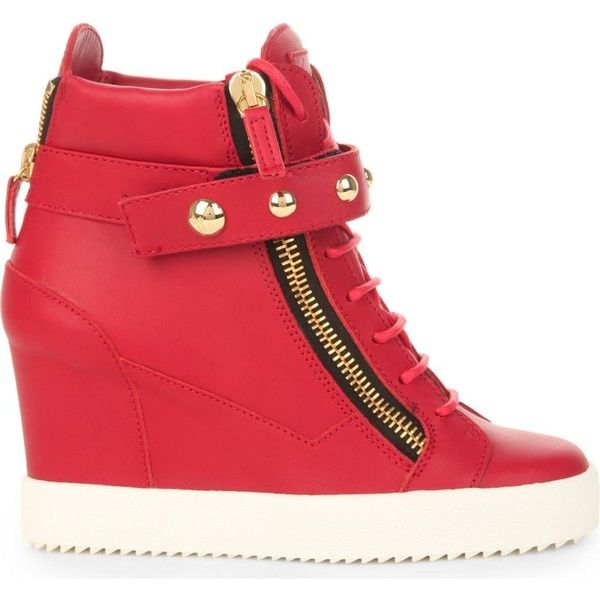 GIUSEPPE ZANOTTI Studded band leather wedge trainers (£675) ❤ liked on Polyvore featuring shoes, sneakers, red, red trainer, studded sneakers, leather wedge sneakers, red high heel shoes and wedge sneakers