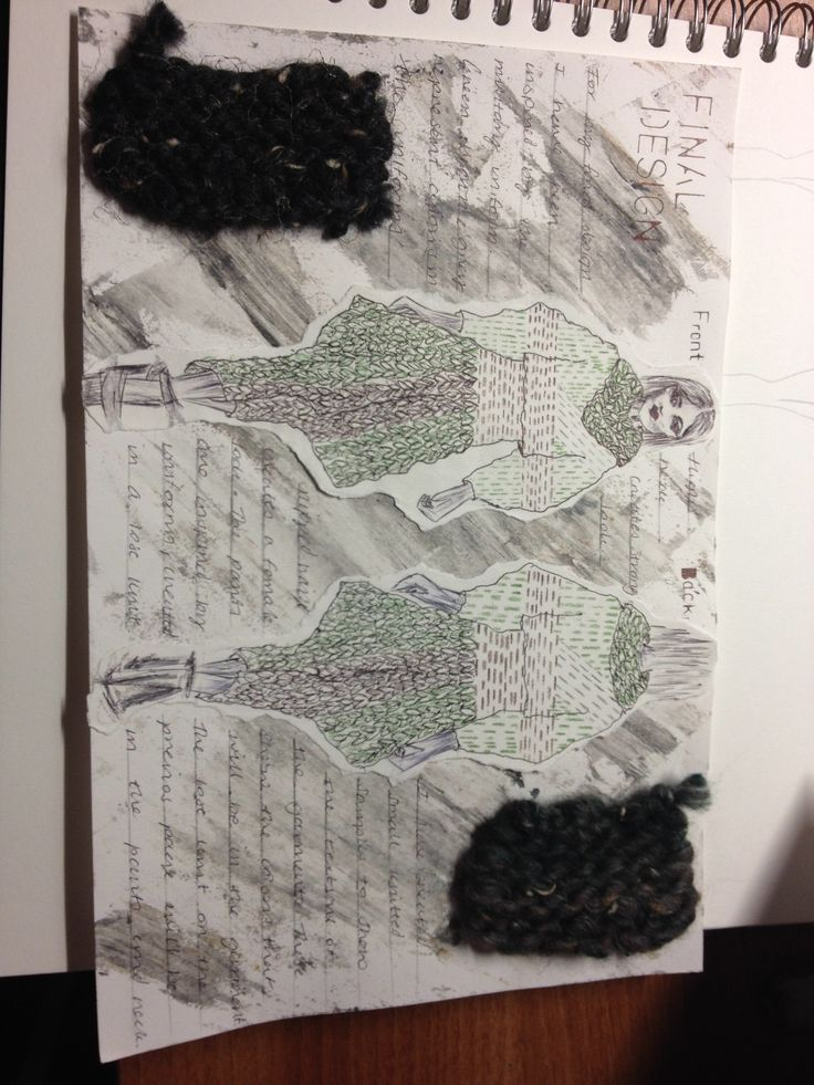 Knitwear sketchbook design, inspired by WW1