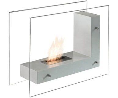 Напольный камин на биоэтаноле - металл - серый, 80х30х60 см