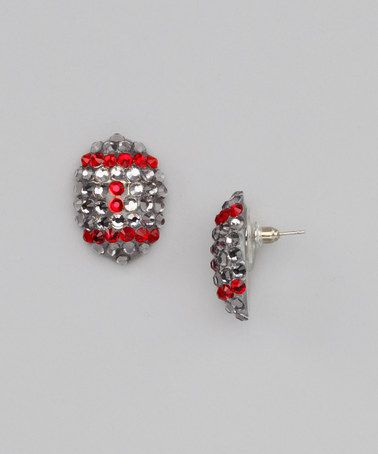Take a look at this Silver Ohio State Colors Crystal Football Earrings by Team Blingies on #zulily today!