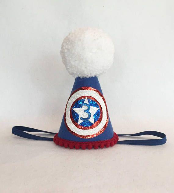 Captain America Birthday Hat Avengers Birthday Hat Superhero