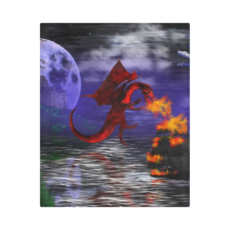 Dragon Attack Duvet Cover by Tracey Lee Art Designs