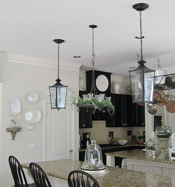 Hanging lantern lights with chandelierDecor, Hanging Lights, Lights Fixtures, Kitchens Lights, Finish Lanterns, Lights Ideas, Anythingology, Convertible Recess, Recess Lights