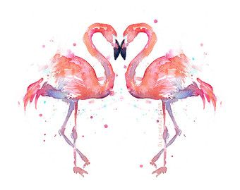 Flamingo Watercolor Painting Art Print Giclee Bird Animal Wall Art Home Decor…