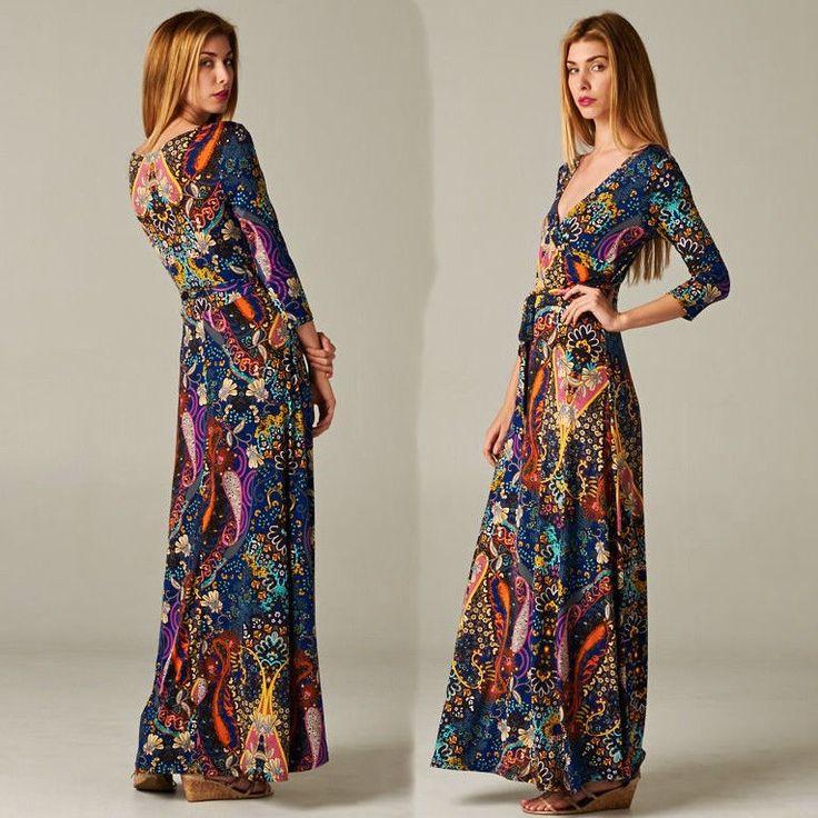 Details about BOHEMIAN Dark Blue Paisley Jersey MAXI DRESS Faux ...