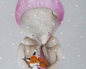 Kwekerij Print Teddy Bear kunst dragen Art Print door inameliart