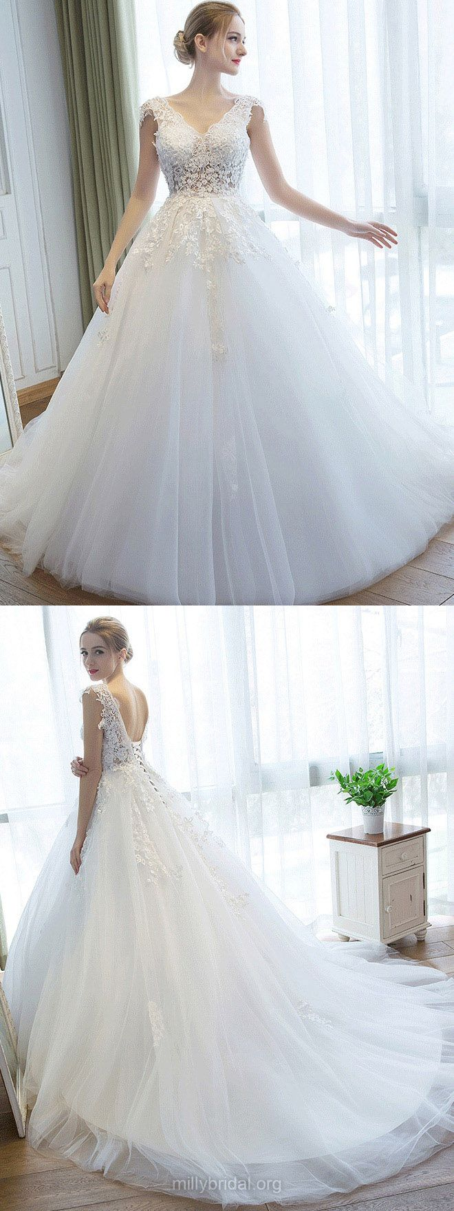 Ball Gown Wedding Dresses V-neck, Lace Wedding Dress Tulle,   Backless Bridal Gowns Modest