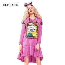 ELF SACK 2017 Women Spring Loose Tassel Decoration Dress Girls Character Pattern with Sequins Appliques Solid Hooded Dresses(China (Mainland))