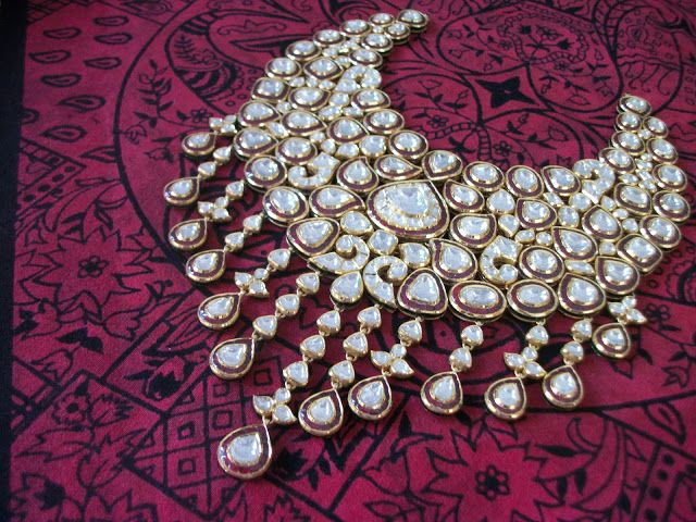 Indian bridal jewellery,polki jewellery,red necklace