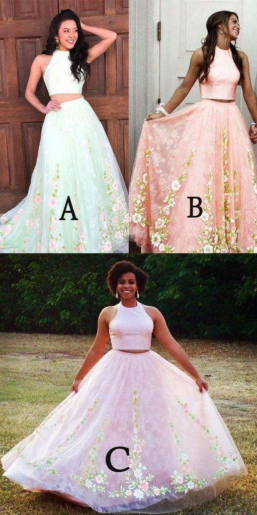 933f626f312 Two Piece Round Neck Pink Tulle Prom Dress with Lace Appliques ...