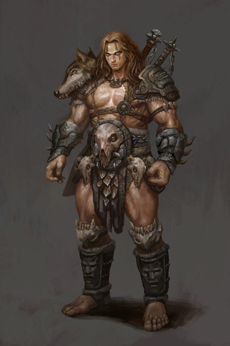 barbarian, Frank Lee on ArtStation at https://www.artstation.com/artwork/Qoa98