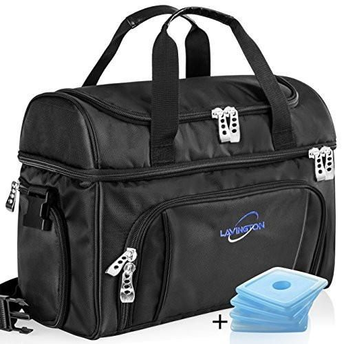 Lavington Large Cooler Lunch Bag - Picnic Travel Insulated Tote - Multiple Pockets & Insulated Compartments - Heavy Duty Durable Zippers & Handles - Ideal For Meal Preparation Plus 4 Ice Packs