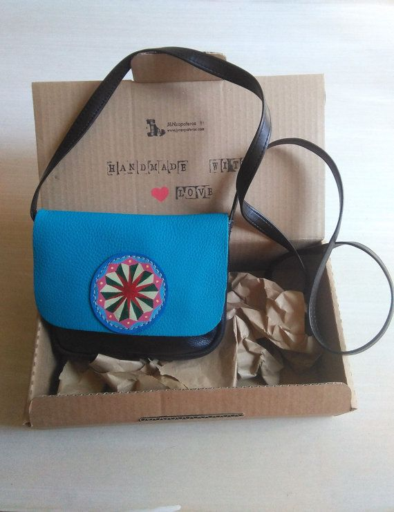 Black Crossbody Bag with Blue Flap, Shoulder Bags for Women, Leather Shoulder Bag with Simple Mandala