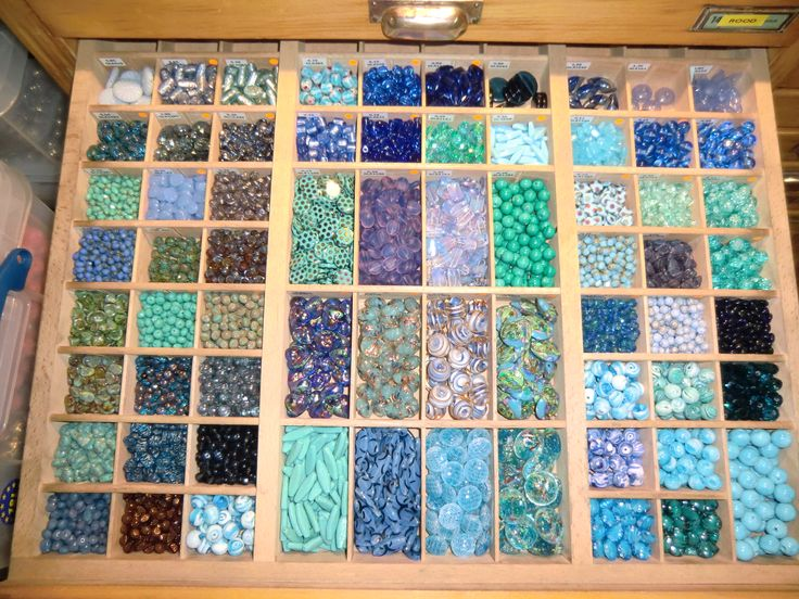 Bead storage, one of my many drawers.
