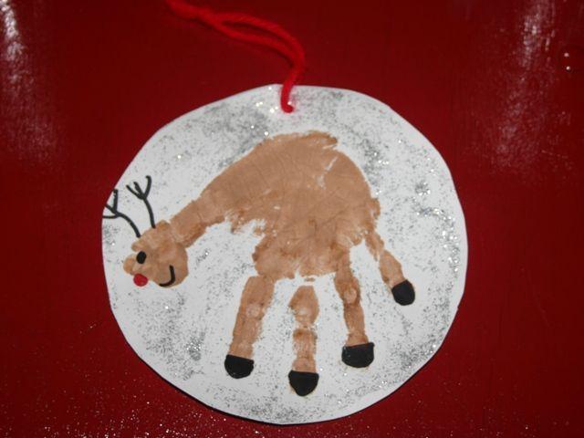 reindeer handprint: Christmas Crafts, Handprint Ornament, Kids Crafts, Handprint Reindeer, Christmas Ideas, Craft Ideas, Handprint Craft