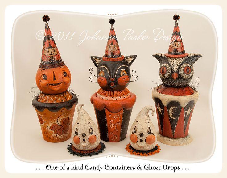 Johanna Parker Design * Halloween Folk Art Gallery - paper mache vintage style halloween ornaments. Cat, pumpkin, owl and more