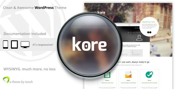 The Kore Responsive Business WordPress Theme   http://themeforest.net/item/the-kore-responsive-business-wordpress-theme/8004371?ref=damiamio      Features     Responsive Layout – Twitter Bootstrap 3    Revolution Slider Plugin $19 value    Visual Composer Plugin $30 value    Custom WordPress Sidebar Plugin $13 value for Unlimited Sidebars. Each sidebar (including footer sidebars), on any page can be replaced with custom sidebar.    Page with two sidebars can be created using visual…